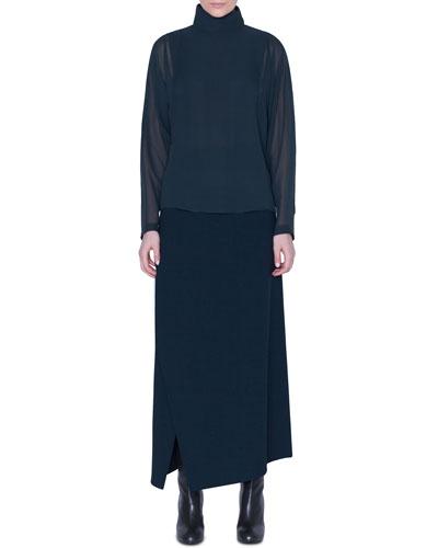 Draped-Back Silk Tunic