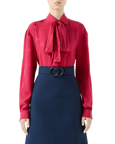 Wild Red G Roses Silk Crepe Shirt