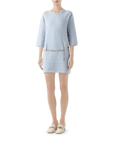 Half-Sleeve Belted Knit Crewneck Dress