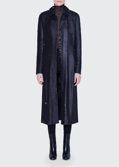 Sequined Ankle-Length Duster Coat