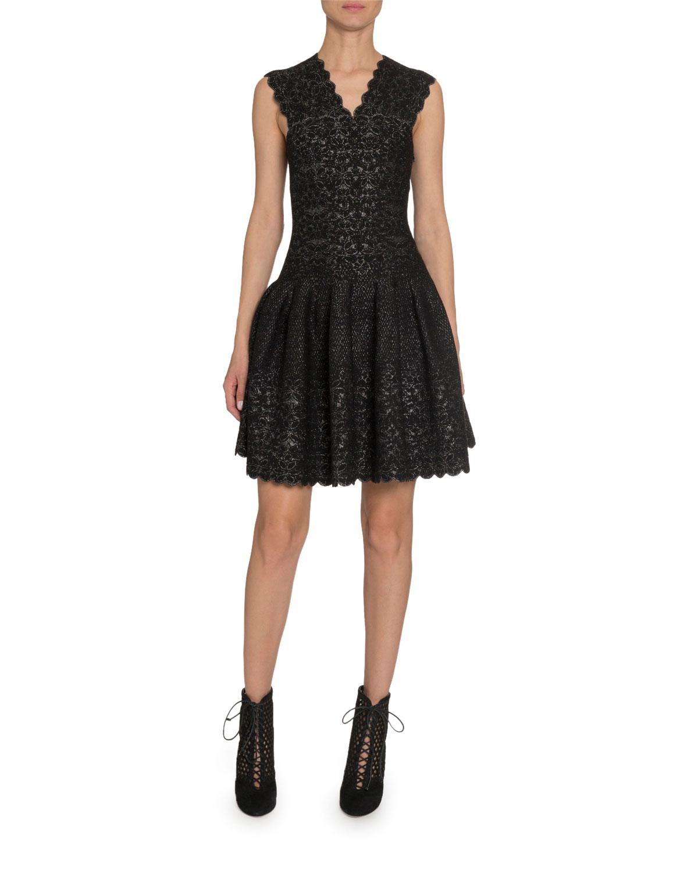 Alaïa Dresses METALLIC LACE V-NECK DRESS
