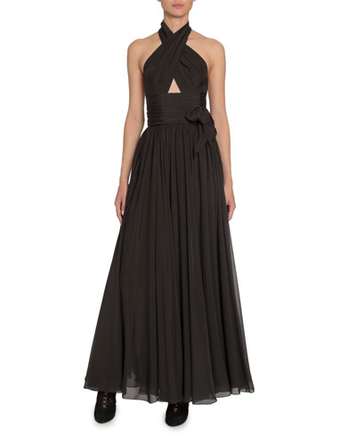 Silk Taffeta Wrapped Halter Gown