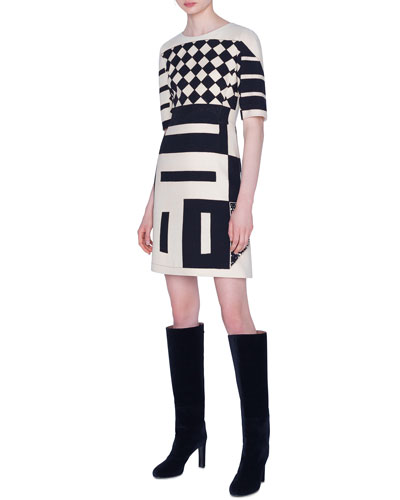 1/2-Sleeve Kaleidoscope Sheath Dress