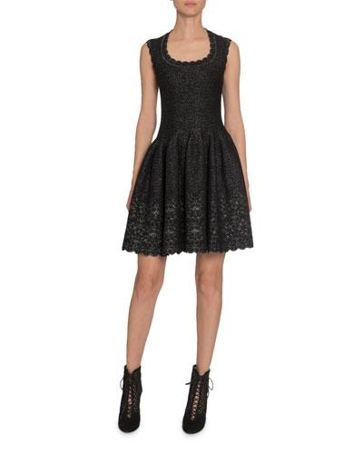 Shimmer Scoop-Neck Fit-&-Flare Dress