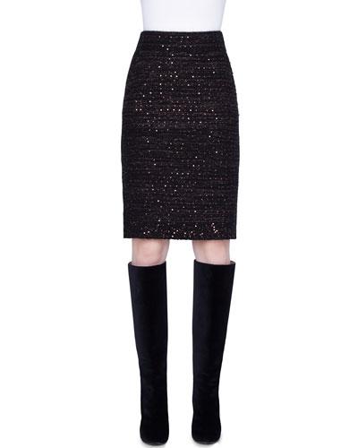 Metallic Silk Sequined Skirt