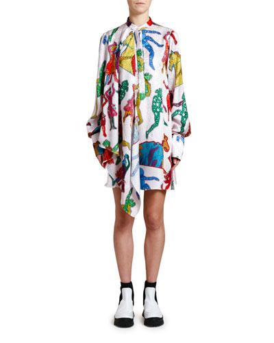 Beatles-Print Scarf-Neck Dress