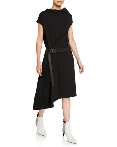 Cowl-Neck Crepe Asymmetric Dress