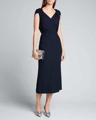 Knotted Cap-Sleeve Sheath Dress