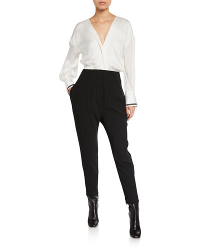 Monili-Cuffed Long-Sleeve Jumpsuit