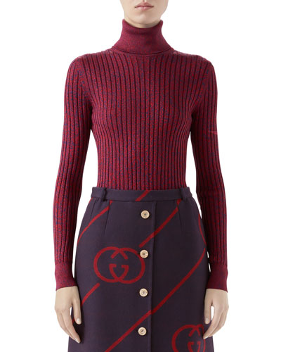 Shimmer Two-Tone Silk Turtleneck Top