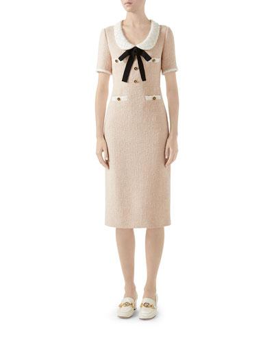Bowed-Neck Tweed Midi Dress