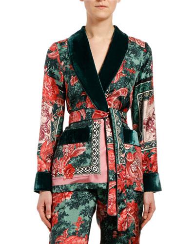 Rose Scarf-Print Silk Tie-Waist Blouse