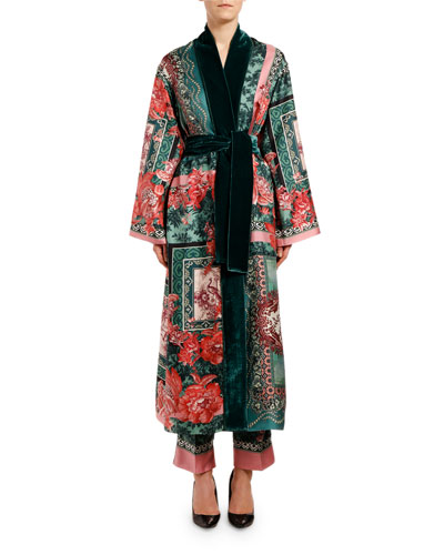 Rose-Print Silk Scarf Robe Coat