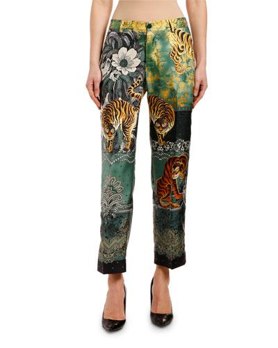 High-Rise Tiger & Floral Print Pants
