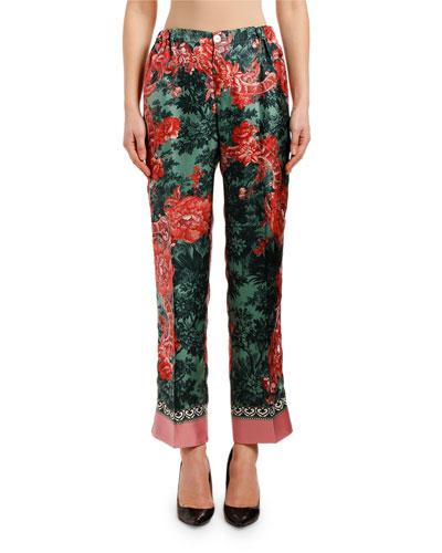 Rose-Print Silk Scarf Pants
