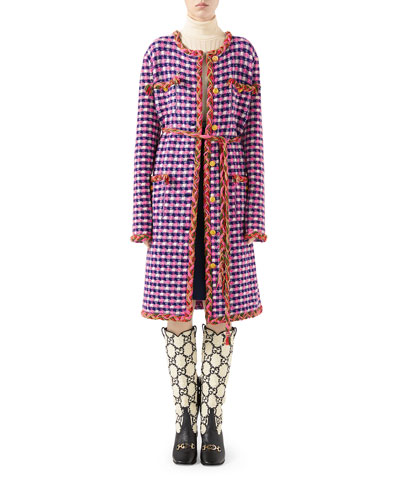 Checkered Wool-Knit Braided-Trim Coat