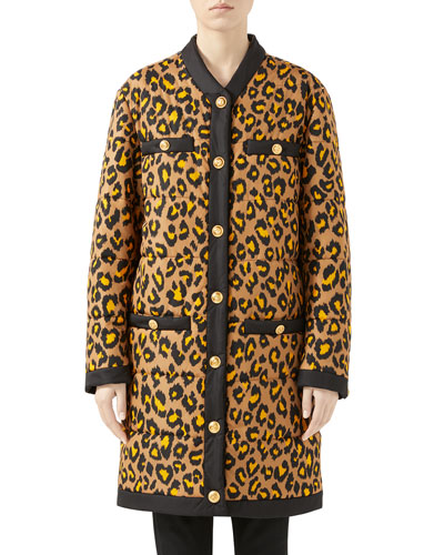 Disco Leopard Print Nylon Oversized Coat