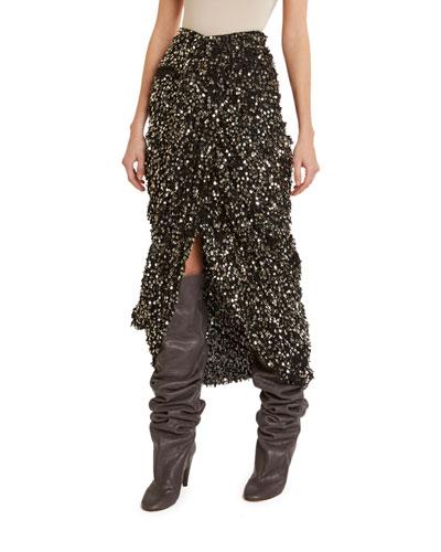 Sequined Fringe Midi Wrap Skirt