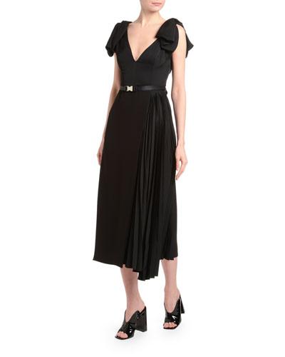 Fluid Twill Bow-Shoulder Midi Dress