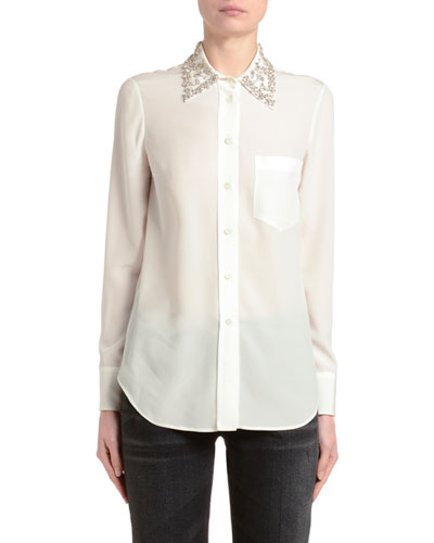 Crepe de Chine Crystal-Collar Silk Blouse
