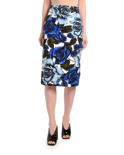 Rose Divisia Poplin Pencil Skirt