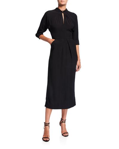 Twisted-Neck Midi Dress