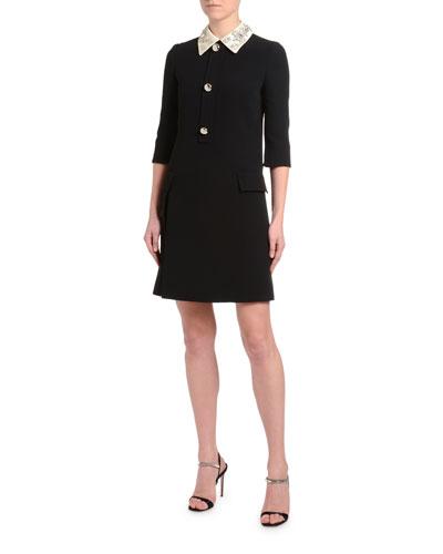 Satin-Embroidered 1/2-Sleeve Cady Dress