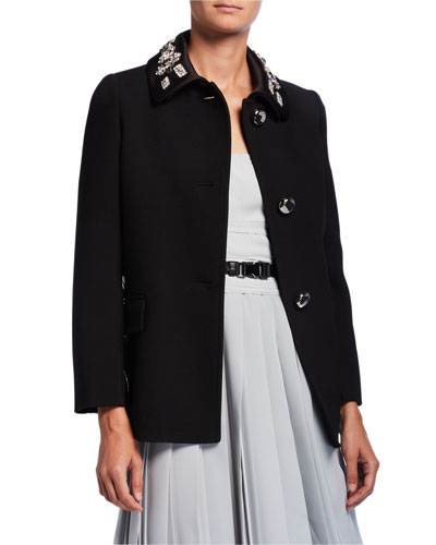 Embellished-Collar Double Satin Jacket