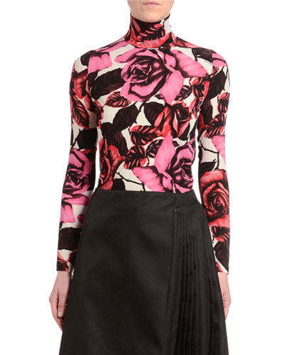 Rose Turtleneck Long-Sleeve Georgette Crepe Top