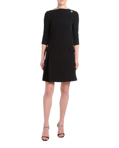 1/2-Sleeve Crepe Boat-Neck Dress