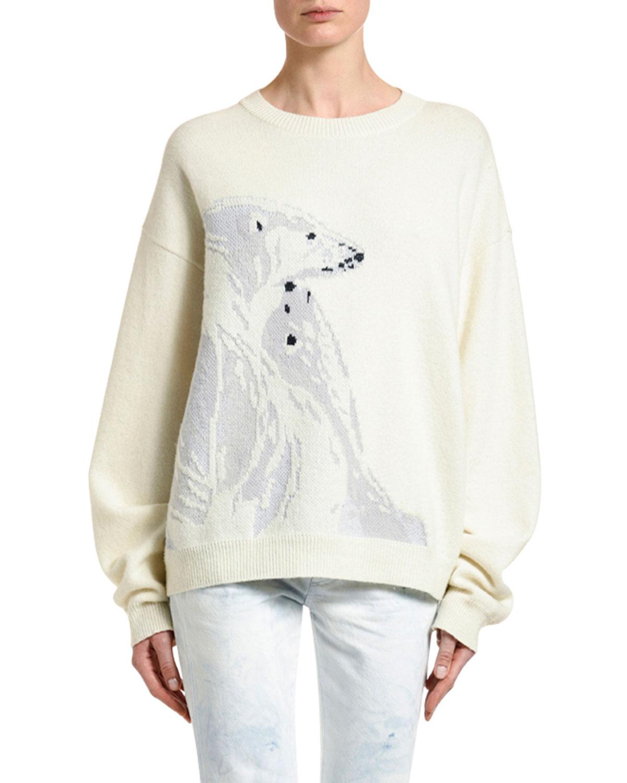 Alanui Polar Bear Intarsia Sweater In White Pattern