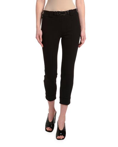Gabardine Skinny Tech Pants w/ Seatbelt Waist