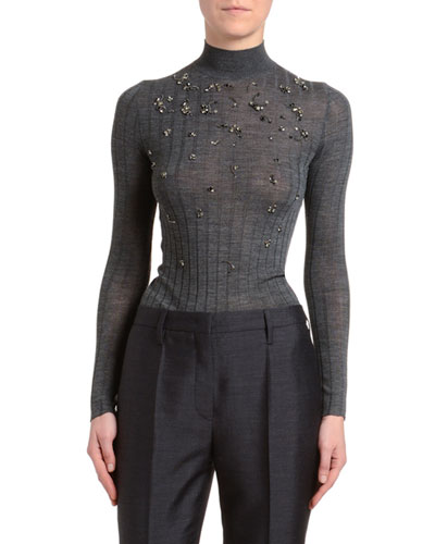 Embroidered Ribbed-Knit Turtleneck Sweater