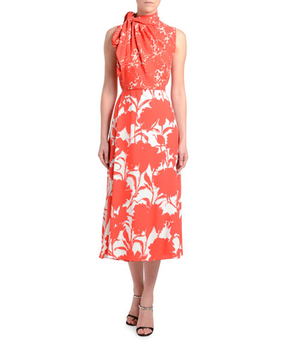 Twill Floral Shadow Sleeveless Dress