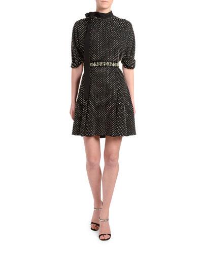 Jewel-Neck Blouson-Sleeve Dress