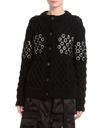 Embellished Oversized Basketweave Knit Cardigan