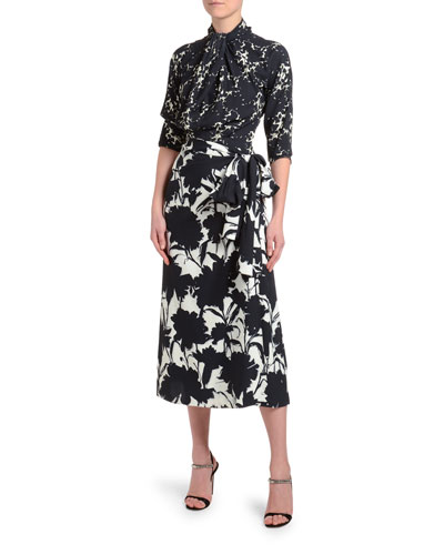 3/4-Sleeve Floral Shadow Twill Dress