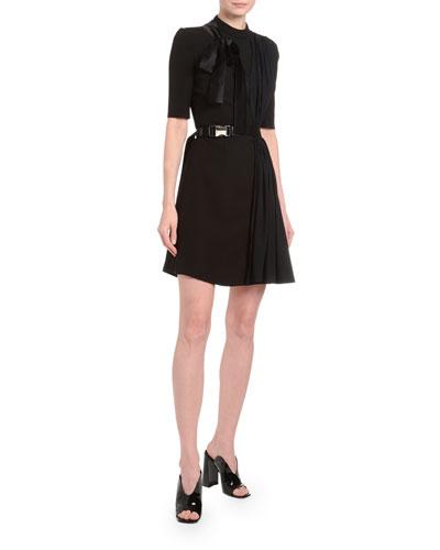 Draped Tech-Twill Crepe Dress