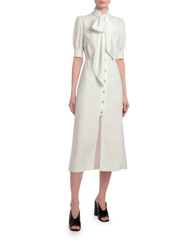 Satin Button-Front Tie Neck Dress