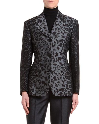 Leopard-Print Crepe de Chine Jacket