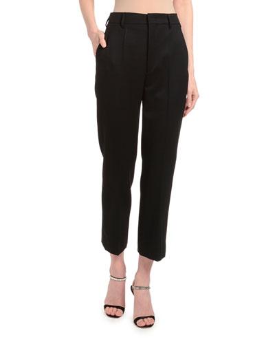 Slim Wool Satin Crop Pants