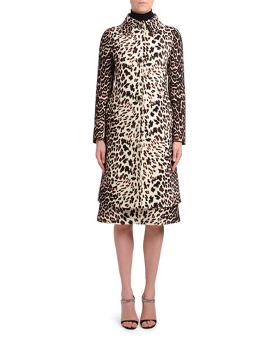 Leopard Print Gabardine A-Line Coat