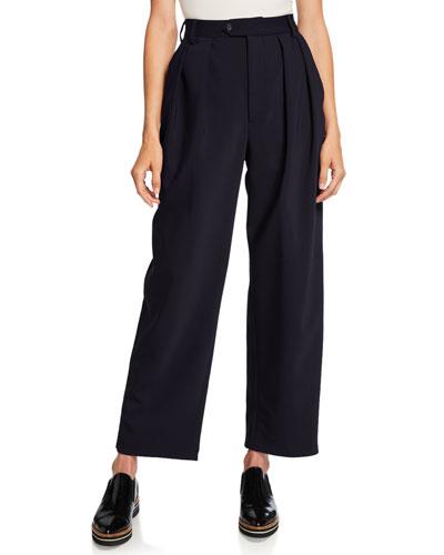 Isabella Pleated Bonded Wool Pants