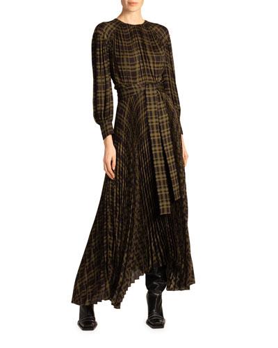 Plaid Jersey Asymmetric Dress