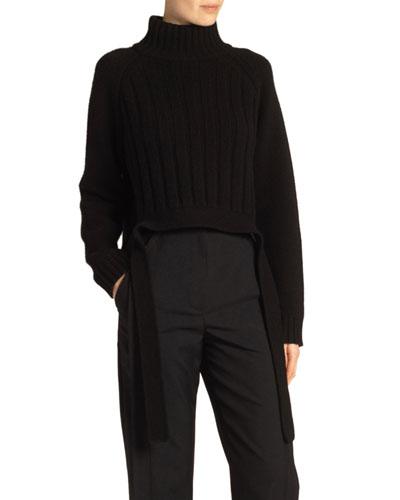 Wool-Cashmere Drape-Hem Turtleneck Sweater, Black