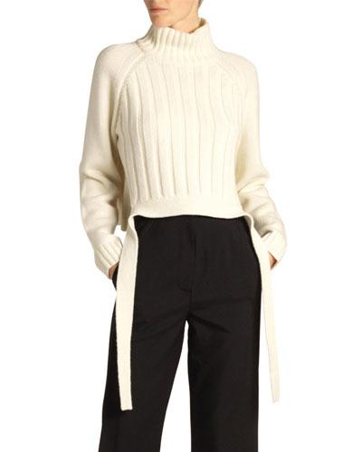 Wool-Cashmere Drape-Hem Turtleneck Sweater, Biege
