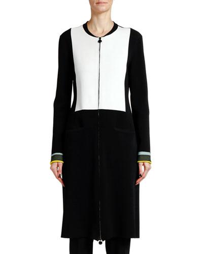 Double-Stitch Long Jersey Knit Jacket