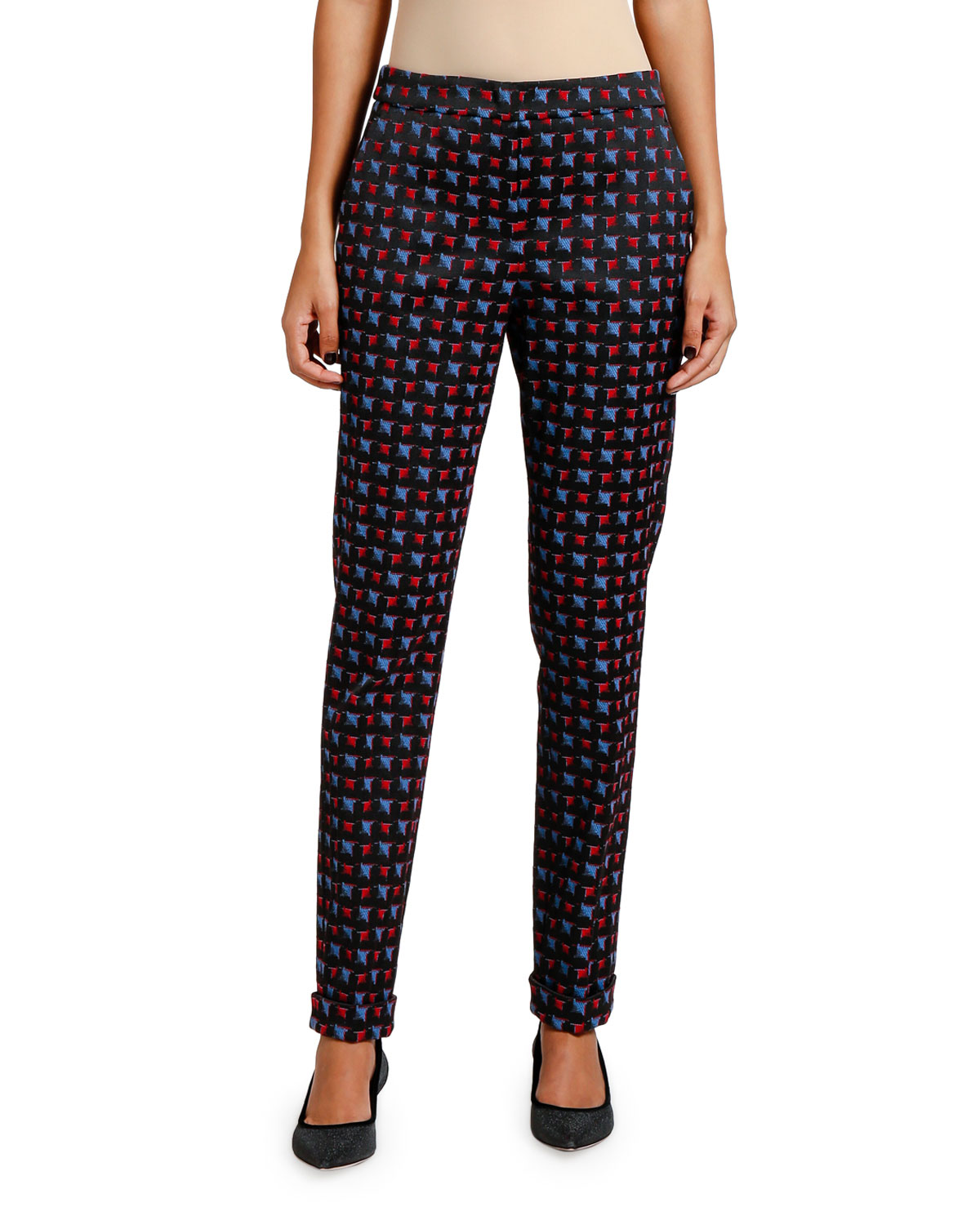 Giorgio Armani Pants GEOMETRIC JACQUARD TAPERED-LEG PANTS