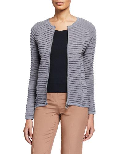 Wave-Knit Double-Zip Jacket