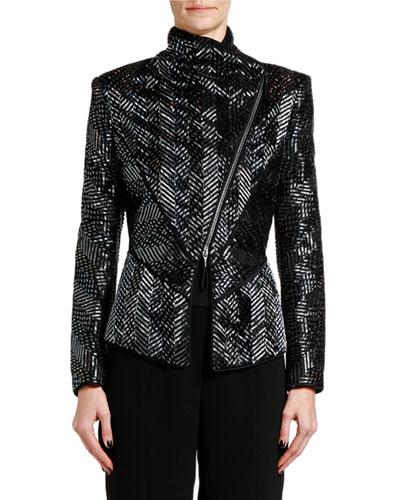 Asymmetric Beaded-Silk Jacket